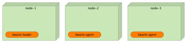 Docker Swarm cluster with three nodes