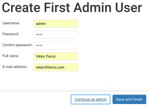 Create First Admin User screen